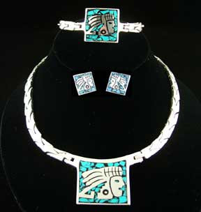 Taxco sterling jewelry pre Columbian, Aztec, Maya designs.