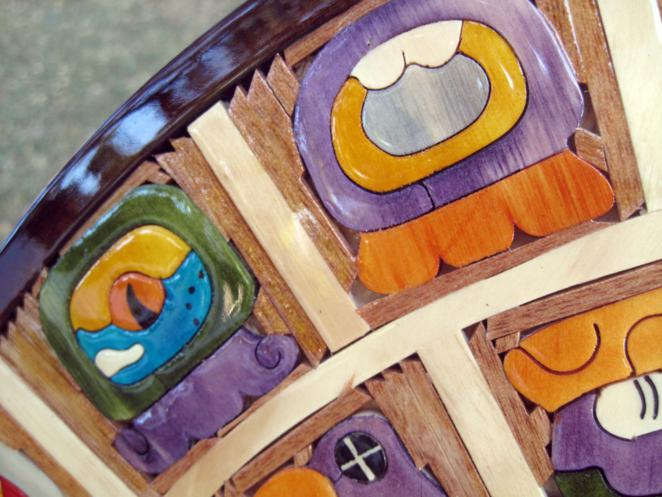 Hand Crafted Aztec And Maya Calendars Of Inlaid Wood